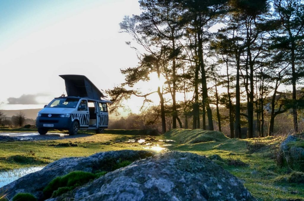 VW Transporter in a wintry forest