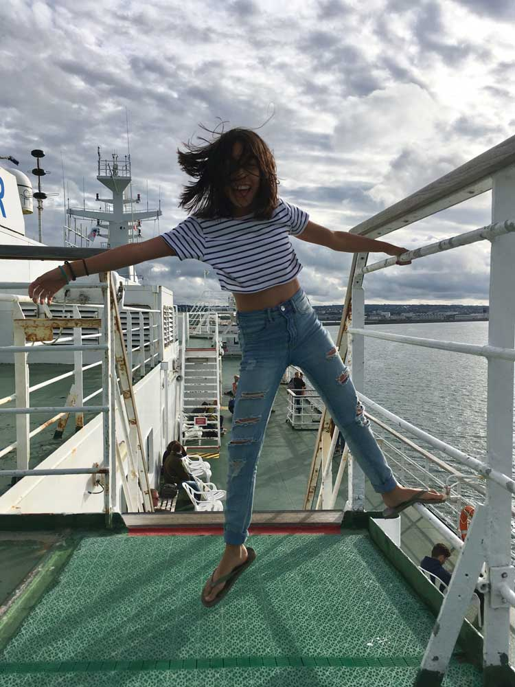 Director Matthew's daughter enjoying a windy ferry crossing to France