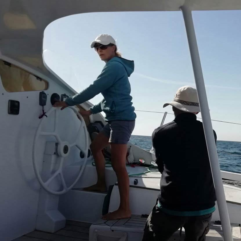 Cambee's Emma Richards steering her boat